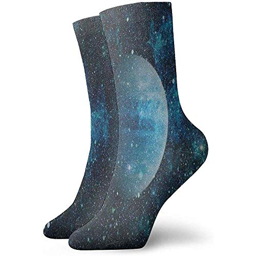 Dydan Tne Chaussettes Crew Blue Galaxy Nebula Moon Starry Sky Athletic Socks Designer Short Boot Stocking