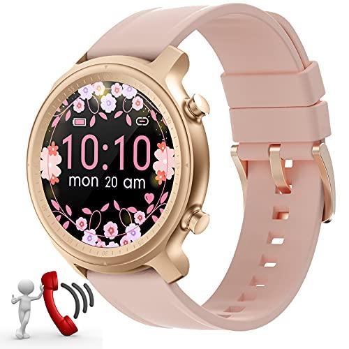 Smartwatch Mujer Reloj recibir y contestar llamadas,Fitness rastreador Reloj Deportivo Smartwatch de 1,28'' Impermeable Monitor Sueño Podómetro para Xiaomi Samsung Huawei Android IOS Ronda (Rosa)