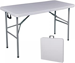 BestOffice Folding Table 4' Portable Plastic Indoor Outdoor Picnic Party Dining Camp Tables