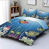 Juego de funda nórdica, acuario marino con coloridos peces tropicales, burbujas, algas marinas, tema marino, decorativo, decorativo, juego de cama de 3 piezas con 2 fundas de almohada, azul rosa verde