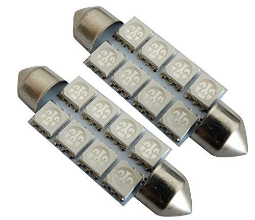 AERZETIX: 2X Ampoule veilleuses C5W 12V 8LED SMD Bleu 41mm éclairage intérieur Plaque d'immatriculation seuils de Porte plafonnier Pieds Lecteur de Carte Coffre Compartiment Moteur