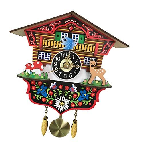 Relógio Cuco Baoblaze com Despertador de Madeira Antiga com Cor Vibrante - B