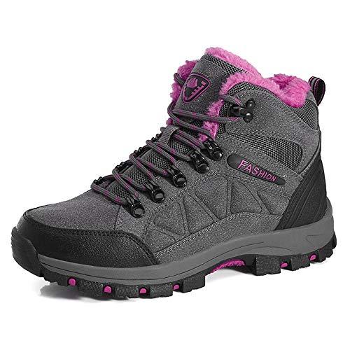 LiYa Wanderschuhe Trekking Schuhe Herren Damen Wasserdicht Winterschuhe Warm Gefüttert Winter Outdoor Boots Wander Stiefel, Grau/Pink, 38 EU
