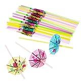 100pajitas fluorescentes, hecha a mano–Paraguas de papel fiesta pajita de característica desechable para fiesta y celebración por wicemoon