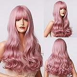 Emmor parrucca lunga rosa per donna Parrucche sintetiche ondulate con capelli naturali con frangia ordinata Parrucche piene Uso quotidiano