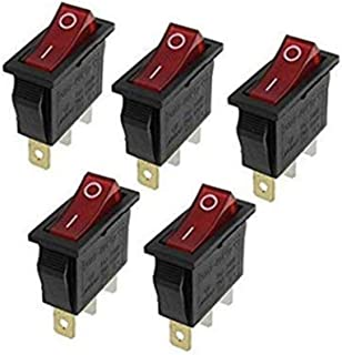 Rocker Switch,3 Pin 2 Position Red Light Illuminated On Off SPST Boat AC 16A/250V 20A/125V Rocker Switch x 5 Pack