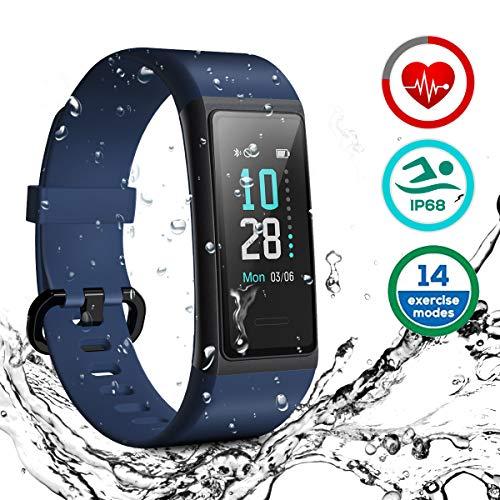 HOMVILLA Fitness Armband, Fitness Tracker Smartwatch Wasserdicht IP68 Aktivitätstracker mit Pulsmesser Schrittzaehler Uhr Stoppuhr Smart Watch Fitness Uhr Schlafmonitor Kalorie für Damen Herren