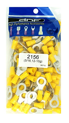 DNF 200 Pack Copper 12-10 Gauge Yellow Ring Terminals Electrical Wire Connectors 5/16""