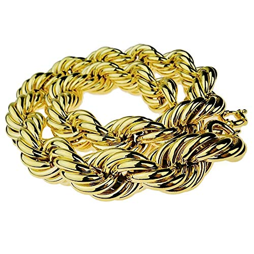 Huge Mens 14k Gold Plated Chain Hollow Rope Dookie 30MM Wide x 30' Hip Hop Rapper Necklace