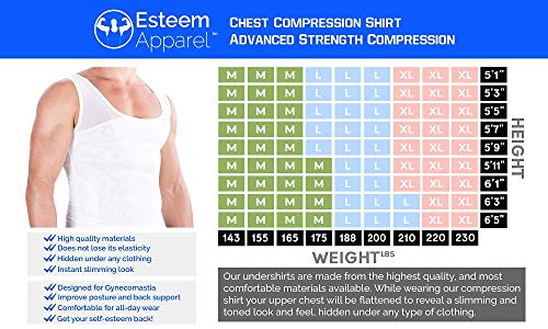 『(Large, White) - Esteem Apparel Original Men's Compression Shirt to Hide Gynecomastia Moobs Chest Slimming Body Shaper Undershirt』の5枚目の画像