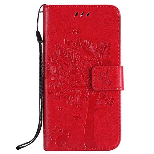 Fatcatparadise Funda LG K8 2017 [Protector de Pantalla de Vidrio Templado], (Serie de Gato y árbol) Retro PU Leather Cuero impresión Flip en Relieve Patrón Cover Case para LG K8 2017 (Rojo)
