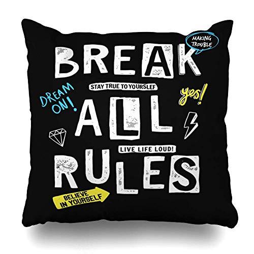 N\A Throw Pillow Cover Square Art Cool Break All Rules Slogan Graphic Boy tee Girl Insignia de Verano Diseño Divertido Funda de cojín de Invierno Diseño de decoración del hogar Funda de Almohada