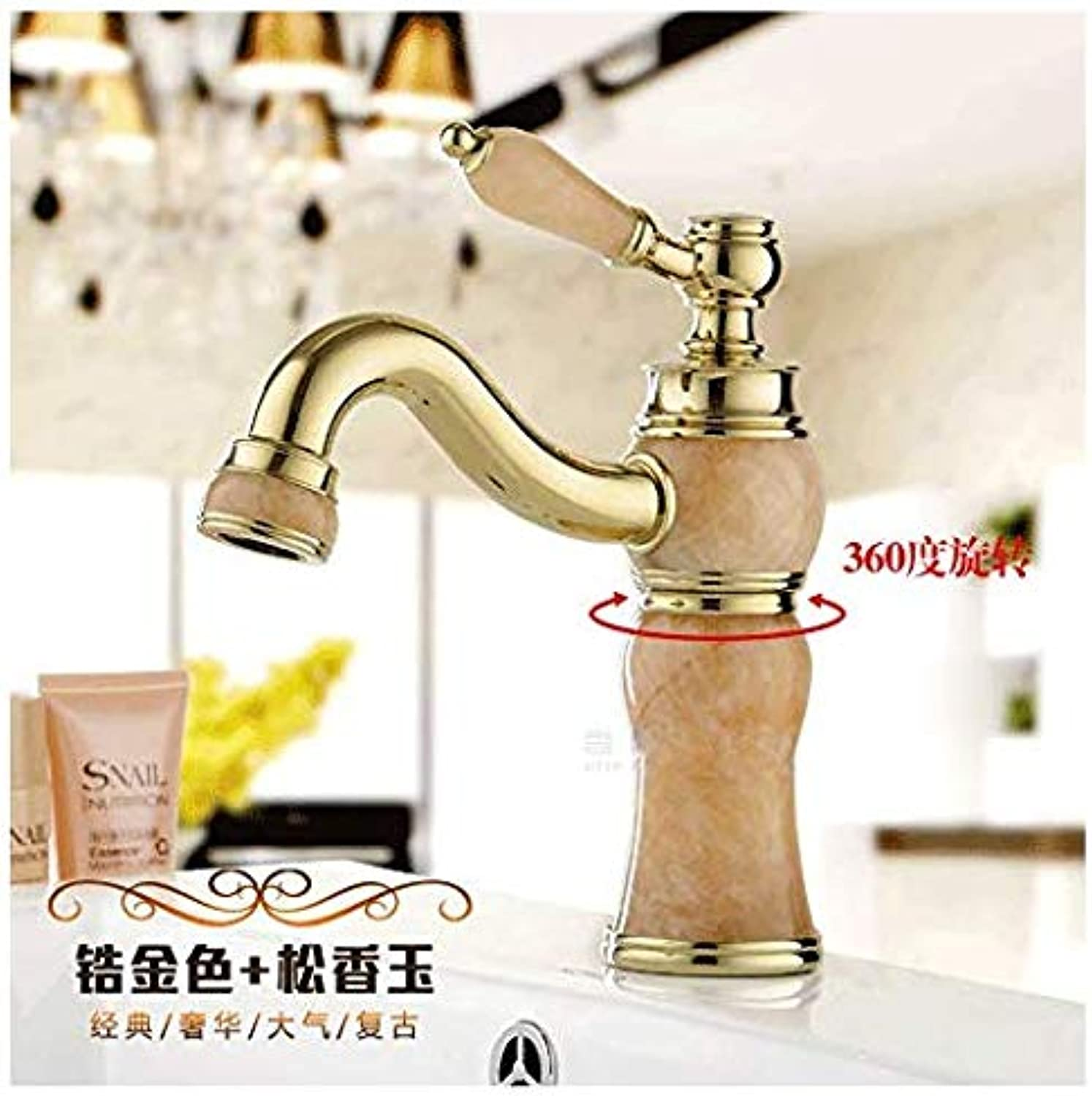 Modern Double Basin Sink Hot and Cold Water Faucetfaucet European gold Single Hole Basin Basin redating, Zirconium gold Round Cover Rosin Yellow redating