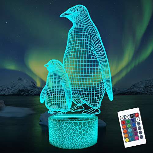 Pinguin 3D Nachtlicht für Kinder, 16 Farben wechselnde Illusionslampe mit Fernbedienung Dimmbare Funktion 4 Blinkmodus, Kinderzimmer Dekor Geschenke für Jungen Mädchen