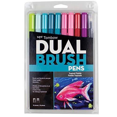 トンボ鉛筆 筆ペン デュアルブラッシュペン ABT 10色セット トロピカル AB-T10CTR