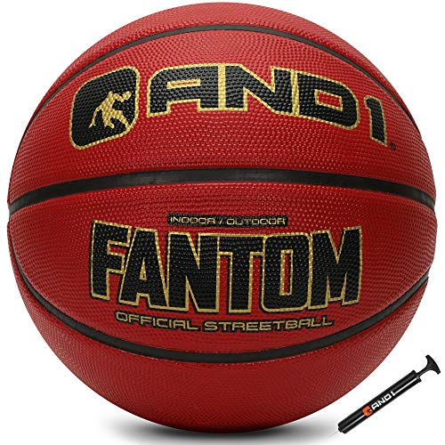 """AND1 Fantom Rubber Basketball amp Pump Official Size 7 295"""" Streetball Made for Indoor and Outdoor Basketball Games Burgandy"""
