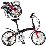 Bicicleta Plegable K-Rock Aluminio R.20 Shimano Ultra Ligera Negra con Rojo