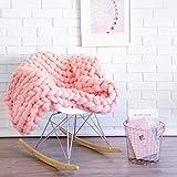 Yijiujiuer Chunky Knit Blanket Giant Throw Merino Wool Yarn Hand Made Bed Sofa Chair Mat (Pink 40'x40')