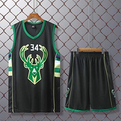 Basketball-Trikots Set Für Kinder - Milwaukee Bucks Antetokounmpo #34 Basketball-Shirt Weste Top Sommershorts Für Jungen Und Mädchen, Atmungsaktiv Und Schnell Trocknend,Schwarz,L