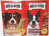 Milk Bone 17 oz Pkg Medium Biscuits for Dogs Over 20 lbs + 19 oz Pkg Small Gravy Bones for Dogs