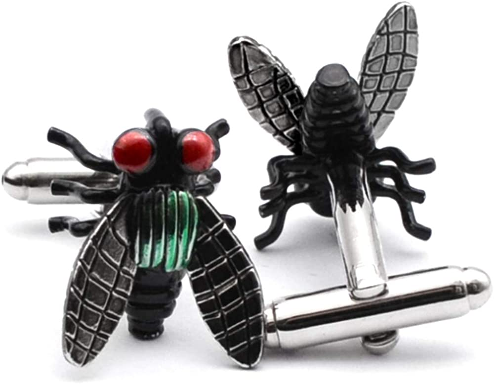 BXLE Insect Cufflinks Set - Fly Horse Cuff Button - Whimsical Garden Cufflink - 3D Design Garden Bug Cool Cuff Links Shirt Studs - Small Size Prank Joke Cuff Link Comes with Gift Box