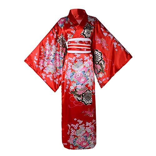 Women Japanese Kimono Robe Sweet Floral Patten Japanese Kimono Cosplay Dress Outfit Women Silk Satin Bathrobe Sleepwear (Long Kimono Red)