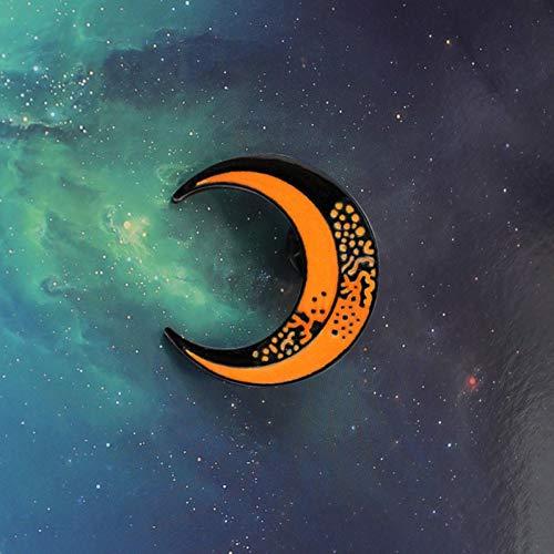 JTXZD broche halve maan pin zwart oranje maan broche wit shirt rugzak badge sturen vrienden kinderen s