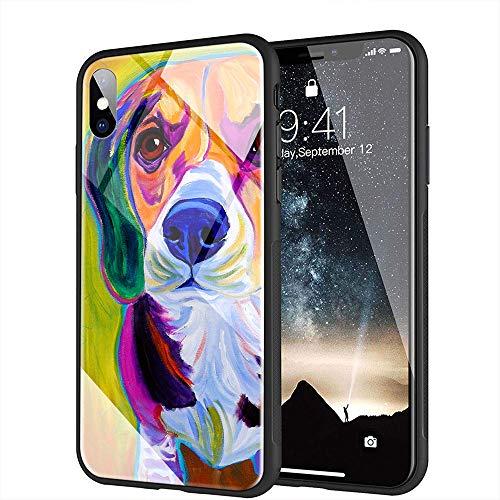 iPhone XR Funda, Cubierta Trasera de Vidrio Templado, Silicona Suave, Compatible con iPhone XR AMA-8 Beagle Dog