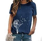 LaiYuTing Pissenlit d'été Imprimé col Rond Lâche Décontracté T-Shirt en Coton à Manches Courtes