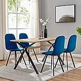 DecoInParis Ensemble Table à Manger + 4 chaises Ambre en Tissu (Bleu)
