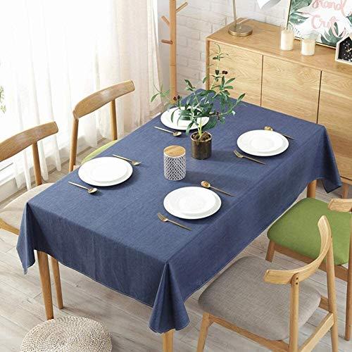 ccfgh Tischdecke Wischen Sie saubere Tischdecken rechteckige Leinen Tischabdeckung einfarbig wasserdichtes und ölgeschütztes Tischtuch für Indoor-Outdoor (Color : Blue, Size : 130+#215;180cm)