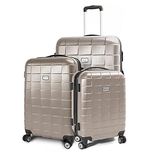 BERWIN Kofferset 3-teilig Reisekoffer Koffer Trolley Hartschalenkoffer ABS Teleskopgriff Modell Squares (Champagne)