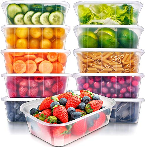 Food Storage Containers with Lids - Food Containers Meal Prep Plastic Containers with Lids Food Prep Containers Deli Containers with Lids Freezer Containers by Prep Naturals, 25 Ounce, 10 Pack