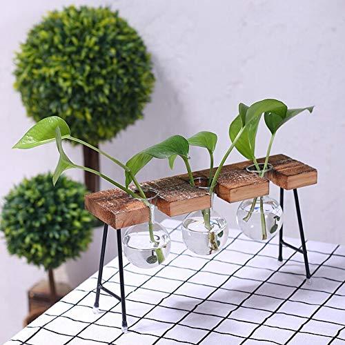 Forme de boule en verre Vase ampoule Vase vintage avec support en bois et métal Tige rotatif pour hydroponie plantes Bureau en verre Pot de fleurs pour décoration de la maison A2 A2