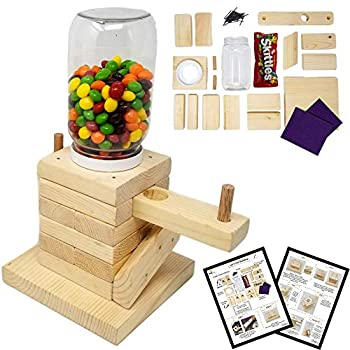 SparkJump DIY Candy Dispenser Wood Building Kit – Real Wood – Great Gift Idea for Boys and Girls Alike – STEM Teaching Tool.