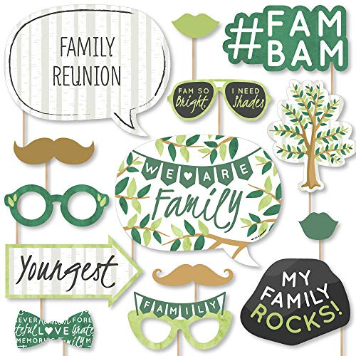 Big Dot of Happiness Family Tree Reunion – Family Gathering Party Photo Booth Props Kit – 20 Count