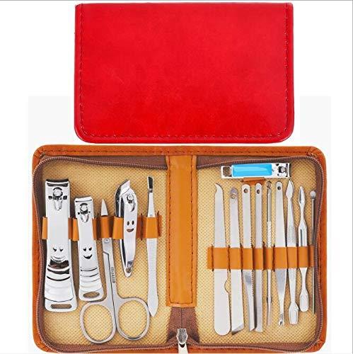 YI0877CHANG Cortaúñas Kit Dos Colores PU Bolsa de Cremallera Sistemas de uñas Set Herramientas de uñas Acero al Carbono 15pcs/Set Clav Cut Clipper Set Kit de manicura (Color : 1)