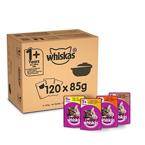 Whiskas 1+ Cibo umido per gatti per gatti adulti, 120 buste (120 x 85 g)