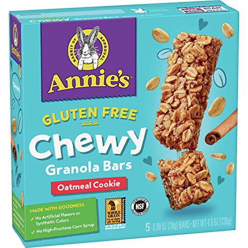 Annie's Gluten Free Chewy Granola Bars, Oatmeal Cookie, 4.9 oz, 5 ct (Pack of 12)