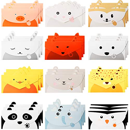 36 Pieces Cute Animal Greeting Cards Lovely Thank You Card Cartoon Animal Stationary Paper Letter Writing Paper Animal Design Invitation Card for Birthday Wedding Party Baby Shower