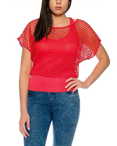 Crazy Age - Camiseta de verano para mujer, parte superior de red, a la moda, para salir de fiesta, en colores neón, rojo, talla única