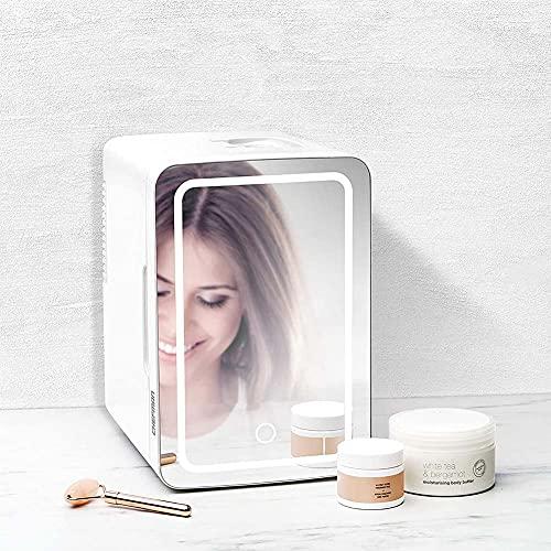 JSBVM 6L 2-en-1 Espejo de Maquillaje Cuidado de la Piel Nevera con luz LED Compacto Nevera portátil para Maquillaje y Cuidado la Piel, Sala, Automóvil Bar Refrigerador Silencioso