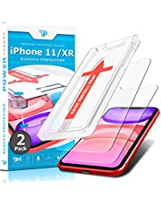 Power Theory iPhone 11/XR Screenprotector Kogelvrij glas Tempered Glass [2-Pack] met installatiehulp sjabloon, Gehard Glas beschermfolie