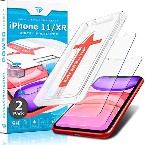 Power Theory Panzerglasfolie für iPhone 11/iPhone XR [2 Stück] - Schutzfolie mit Schablone, Panzerfolie, Glas Folie, Displayschutzfolie, Schutzglas