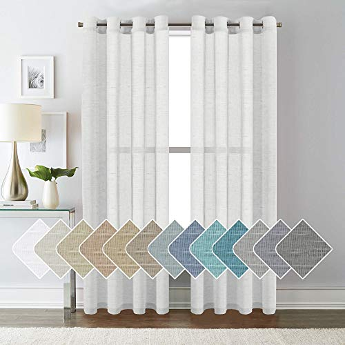 H.VERSAILTEX White Linen Curtain Panels/Home Decorative Rich Natural Linen Sheer Curtains for Bedroom - 2 Panels - Elegant Nickel Grommet Top - 52x84 - Inch