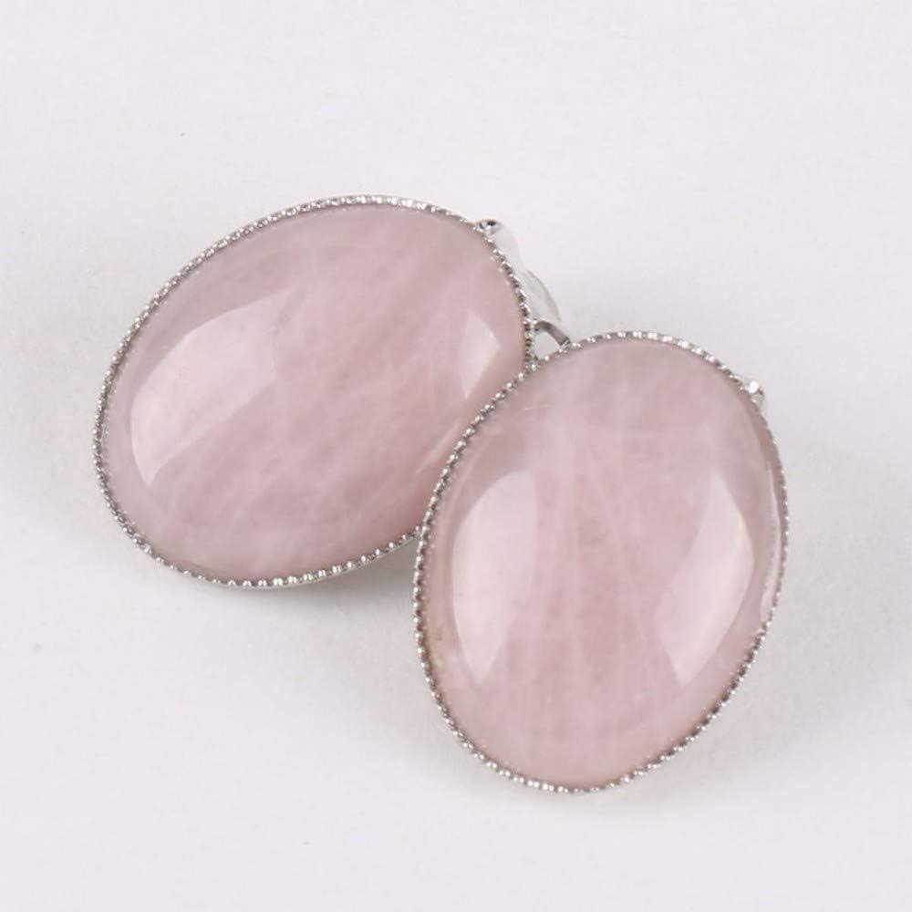 XTT Earrings Hoops Studs Clip On Earring Without Piercing Women Reiki Gem Stone Beads Oval Shape Pink Purple Crystal Onyx Raw Material Jewelry