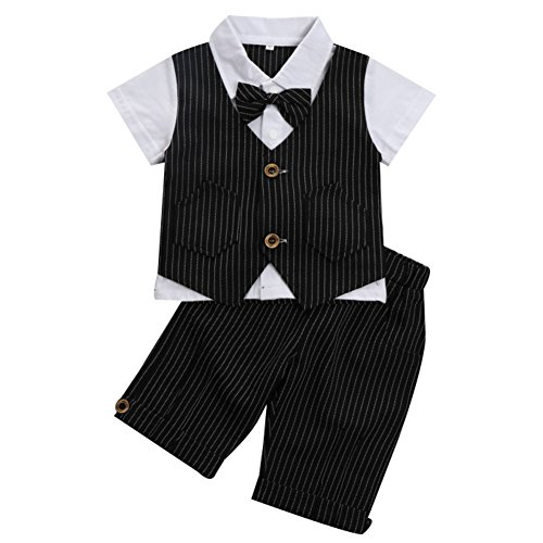G-Kids Baby Jungen 2-Teiliges Strampler Smoking Gentleman Anzug Kurzarm Streifen Outfits Sommer Kleidung Jumpsuit Spielanzug Taufkleidung mitFliege (Schwarz, 100/2-3 Jahre)