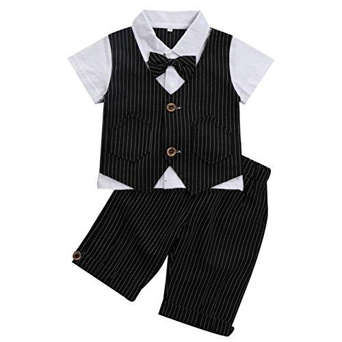G-Kids Baby Jungen 2-Teiliges Strampler Smoking Gentleman Anzug Kurzarm Streifen Outfits Sommer Kleidung Jumpsuit Spielanzug Taufkleidung mitFliege (Schwarz, 80/12-18 Monate)