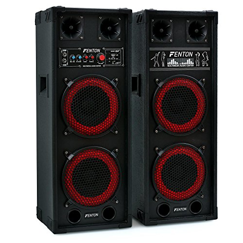 Fenton SPB-28-2 x PA Lautsprecher, Aktivboxen Set, Master/Slave Boxensystem, 800 Watt max, 2 x 8'-Subwoofer, Bluetooth, USB-Port, SD-Slot, 2 x 6,3mm-Klinke-Mic-In, Cinch-Line-In, schwarz