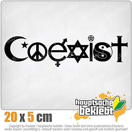 KIWISTAR Coexist Symbole 20 x 5 cm IN 15 FARBEN - Neon + Chrom! Sticker Aufkleber